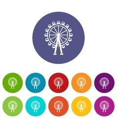 Ferris wheel set icons vector