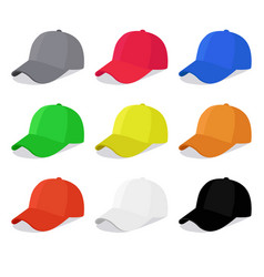 Flat caps set with different colors vector