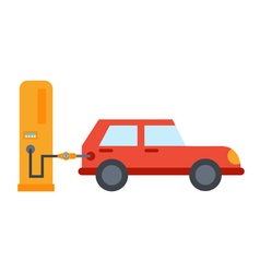 flat car refuelling vector image