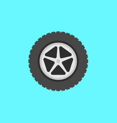 Flat car wheel with tire icon on blue vector