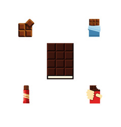 flat icon cacao set of dessert bitter sweet and vector image