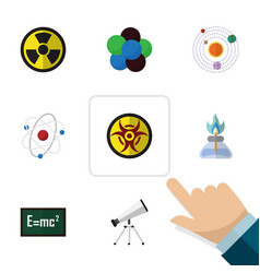 Flat icon study set of irradiation danger theory vector