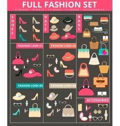 full womens fashion collection bags shoes hats vector image