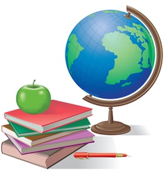 Globe and books vector image