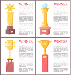 golden awards for winner set vector image