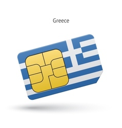 Greece mobile phone sim card with flag vector