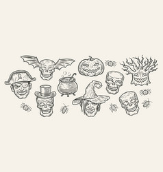 halloween symbols set hand drawn vintage vector image