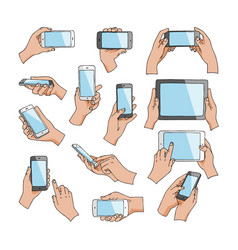 hands with gadgets hand holding phone or vector image
