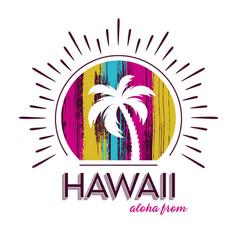 Hawaii tee print palm tree design vector