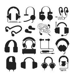 Headphones silhouette set vector image