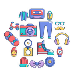 hipster symbols icons set cartoon style vector image