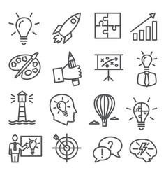 idea line icons on white background vector image