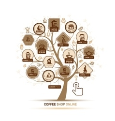 Infographic concept - tree with coffee icons for vector image