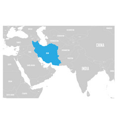 Iran blue marked in political map south asia vector