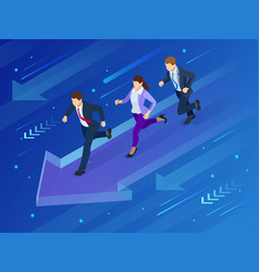 isometric business success concept path to the vector image