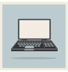 Laptop notebook computer vintage icon vector image