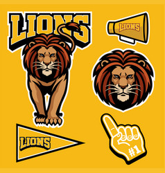 Lion mascot set vector