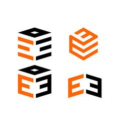 Logo letter e block vector