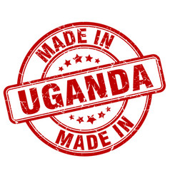 Made in uganda red grunge round stamp vector