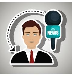 Man journalist news microphone vector