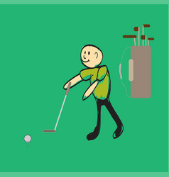 man playing golf vector image