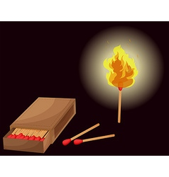 Matchbox and lighted match vector