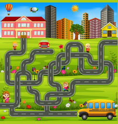 Maze game template with school bus vector