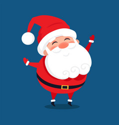 Merry santa claus with wide open hands stand smile vector