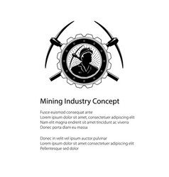 Miner holding a pickax in a gear and text vector
