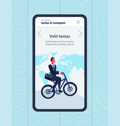 mobile app businessman riding bicycle office vector image
