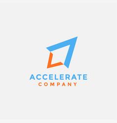 Modern minimalist accelerate rocket logo icon vector