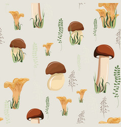 mushroom seamless pattern with autumn forest vector image