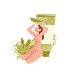 Naked woman sits near giant lotion tube pack vector