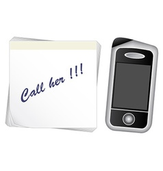 Note paper - mobile phone vector