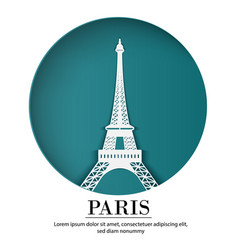 Paris city of france in digital craft paper art vector