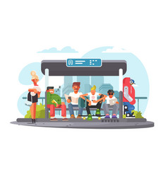 passengers waiting for transport at bus stop vector image