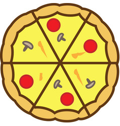 Pizza colored icon is completely sliced into vector