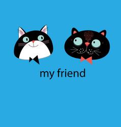 portraits cats friends vector image