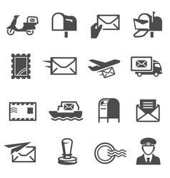 post service set delivery business and mail vector image