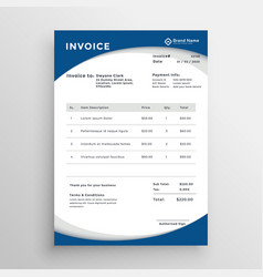 Professional blue business invoice template vector