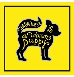 Puppy on the yellow background vector