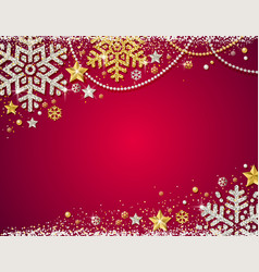 red christmas background with frame of golden vector image