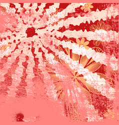 red floral grunge vector image