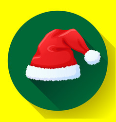 red santa claus hat icon new year cap vector image
