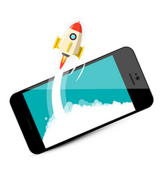 rocket launch on mobile phone business startup vector image