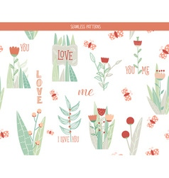 Romantic floral seamless pattern vector image