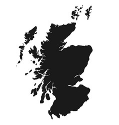 scotland map simple black white silhouette vector image