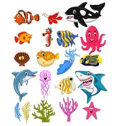 sea life cartoon collection vector image