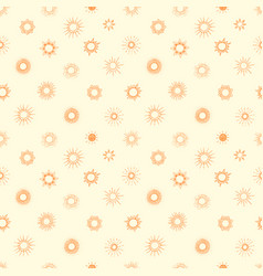 seamless background with orange doodle sun vector image