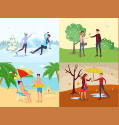 Seasonal outdoor activities flat set vector